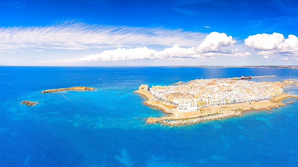 Old town and harbor of Gallipoli on a sunny summer day, aerial view, Lecce province, Salento, Apulia, Italy, Europe - 1179-4991