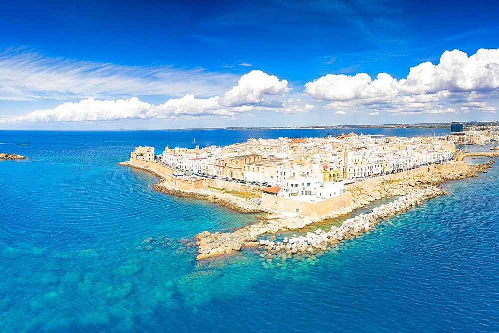 Aerial view of the surrounding walls and old town of Gallipoli in summer, Lecce province, Salento, Apulia, Italy, Europe - 1179-4992
