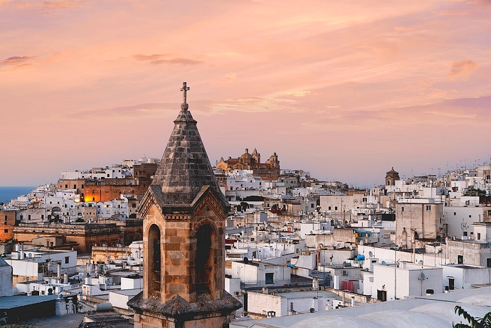 Old town of Ostuni at sunset, province of Brindisi, Salento, Apulia, Italy, Europe - 1179-4994