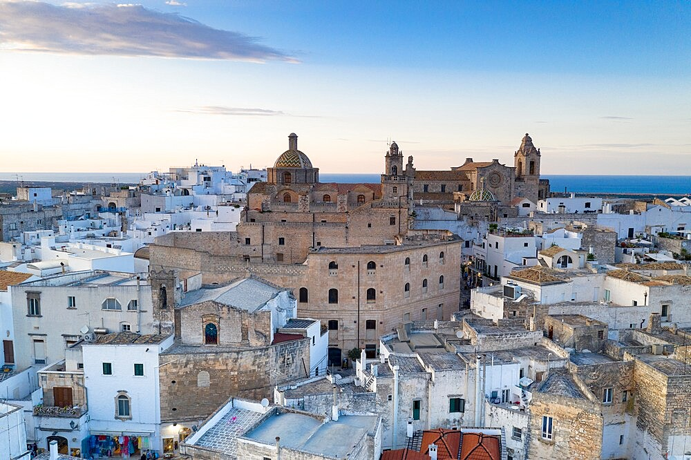 Church and white buildings of Ostuni, aerial view, province of Brindisi, Salento, Apulia, Italy, Europe - 1179-4997