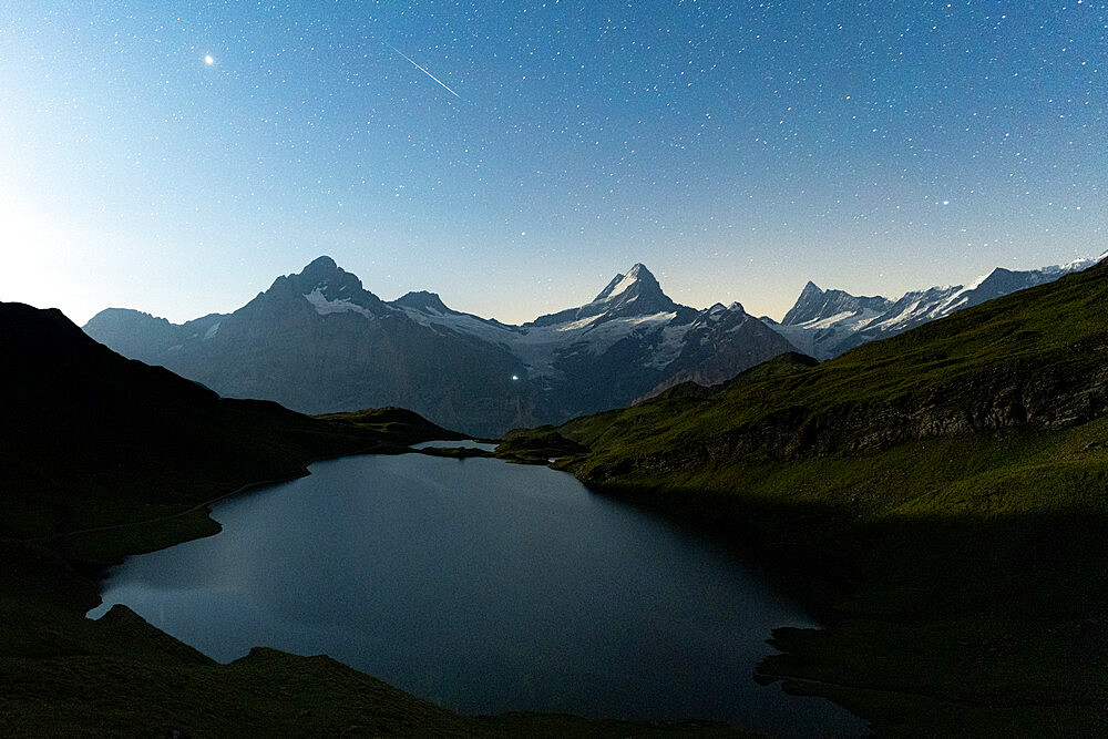 Bachalpsee lake under the starry night sky, Grindelwald, Jungfrau Region, Bernese Oberland, Canton of Bern, Switzerland - 1179-5010
