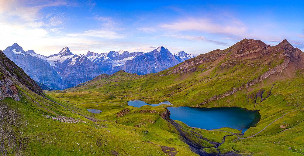 Sunrise over Wetterhorn, Schreckhorn and Finsteraarhorn from Bachalpsee lake, Grindelwald, Bernese Oberland, Switzerland - 1179-5022