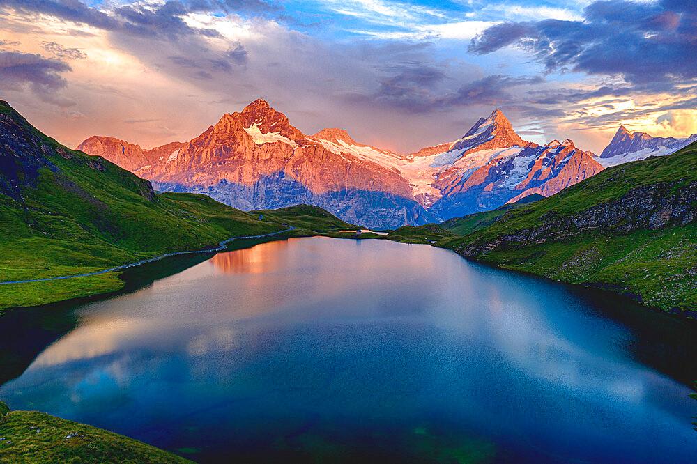 Wetterhorn, Schreckhorn and Finsteraarhorn at sunset from Bachalpsee lake, Grindelwald, Bernese Oberland, Switzerland - 1179-5024