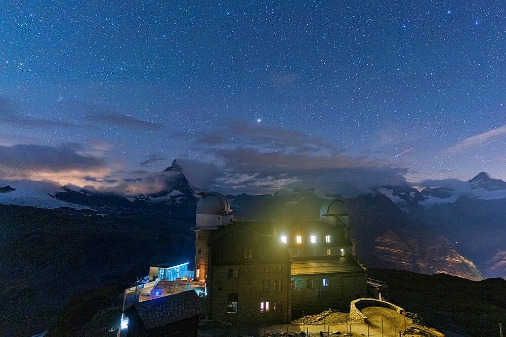Starry sky over the Kulmhotel Gornergrat and Matterhorn, Zermatt, canton of Valais, Switzerland - 1179-5026