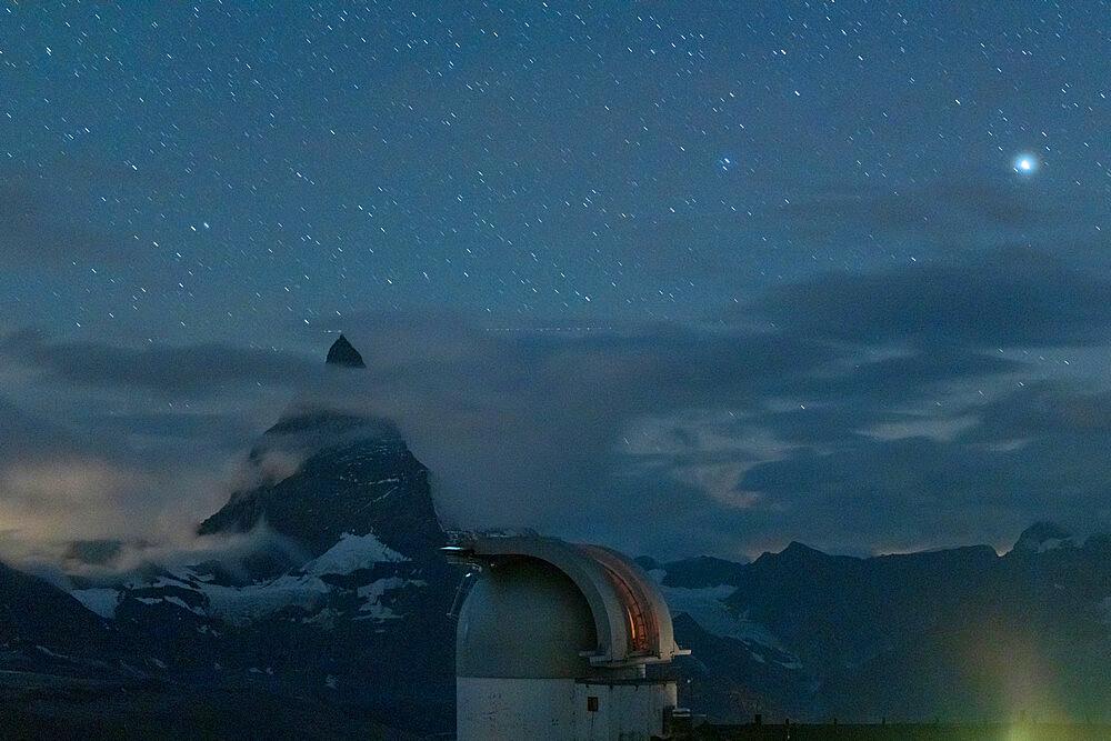Stars over Matterhorn view from the observatory tower of Kulmhotel Gornergrat, Zermatt, canton of Valais, Switzerland - 1179-5027