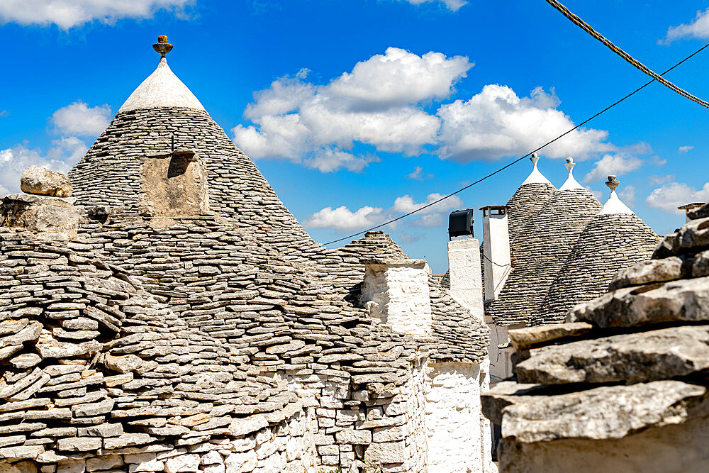 Details of the conical stone roofs of Trulli traditional houses, Alberobello, province of Bari, Apulia, Italy - 1179-5062