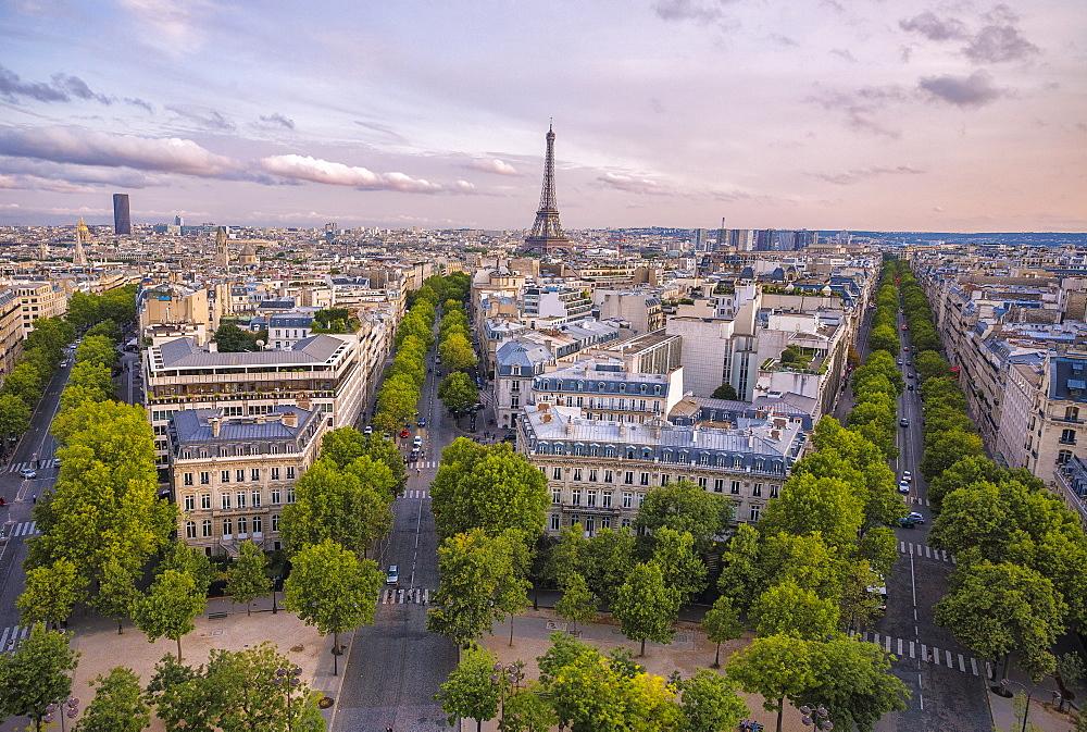 View over Paris at sunset, Paris, France, Europe