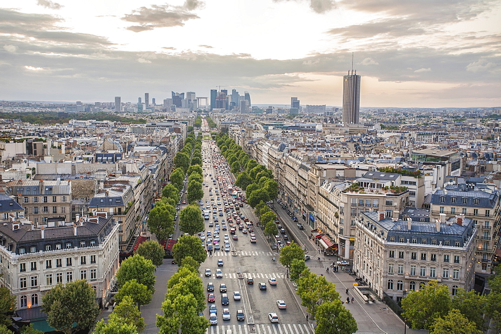View over the Champs Elysees, Paris, France, Europe