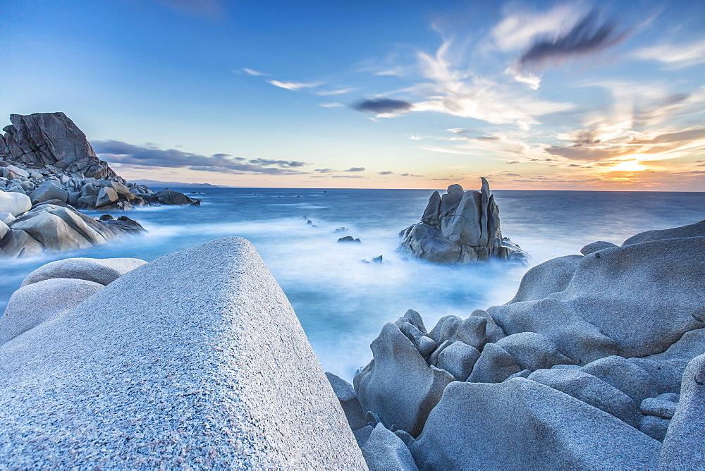 Waves on the smooth rocks of the Capo Testa Peninsula, by Santa Teresa di Gallura, Sardinia, Italy, Mediterranean, Europe