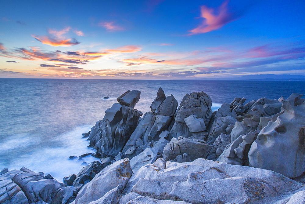 Waves crashing on the rocks of the Capo Testa Peninsula, by Santa Teresa di Gallura, Sardinia, Italy, Mediterranean, Europe