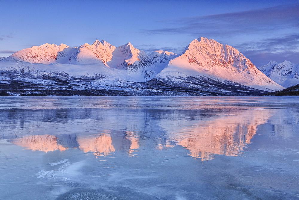 Snowy peaks are reflected in the frozen Lake Jaegervatnet at sunset, Stortind, Lyngen Alps, Troms, Lapland, Norway, Scandinavia, Europe