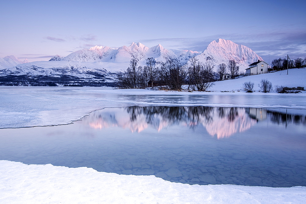 Snowy peaks are reflected in the frozen Lake Jaegervatnet at sunset, Stortind, Lyngen Alps, Tromso? Lapland, Norway, Scandinavia, Europe