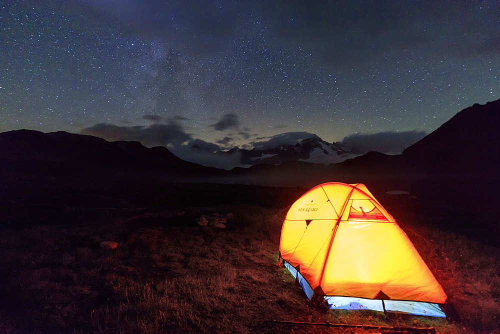 A tent under the stars around Fenetre Lakes, Ferret Valley, Saint Rhemy, Grand St Bernard, Aosta Valley, Italy, Europe