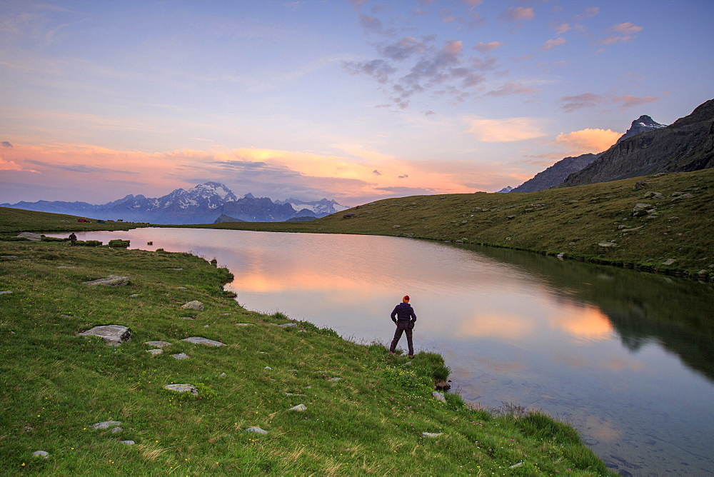 Hiker on the shore admires the pink colors of dawn reflected in Lake Campagneda, Malenco Valley, Valtellina, Lombardy, Italy, Europe