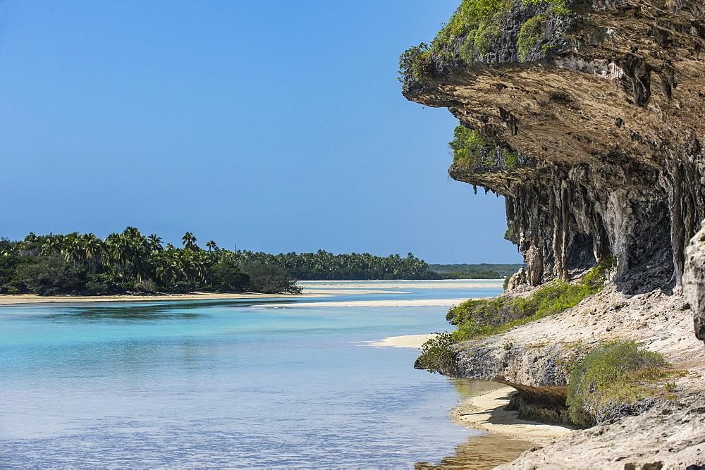 The grey Lekiny cliffs, Ouvea, Loyalty Islands, New Caledonia