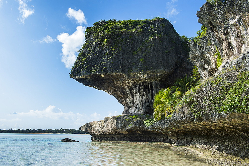 The grey Lekiny cliffs, Ouvea, Loyalty Islands, New Caledonia, Pacific