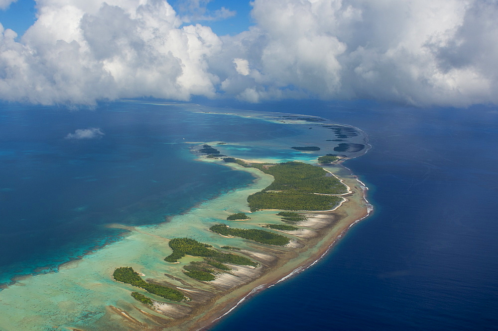 Aerial of the blue lagoon in Rangiroa, Tuamotus, French Polynesia