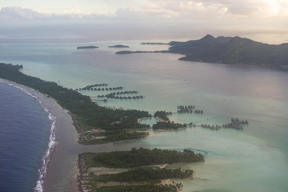 Aerial of Bora Bora, Society Islands, French Polynesia, Pacific