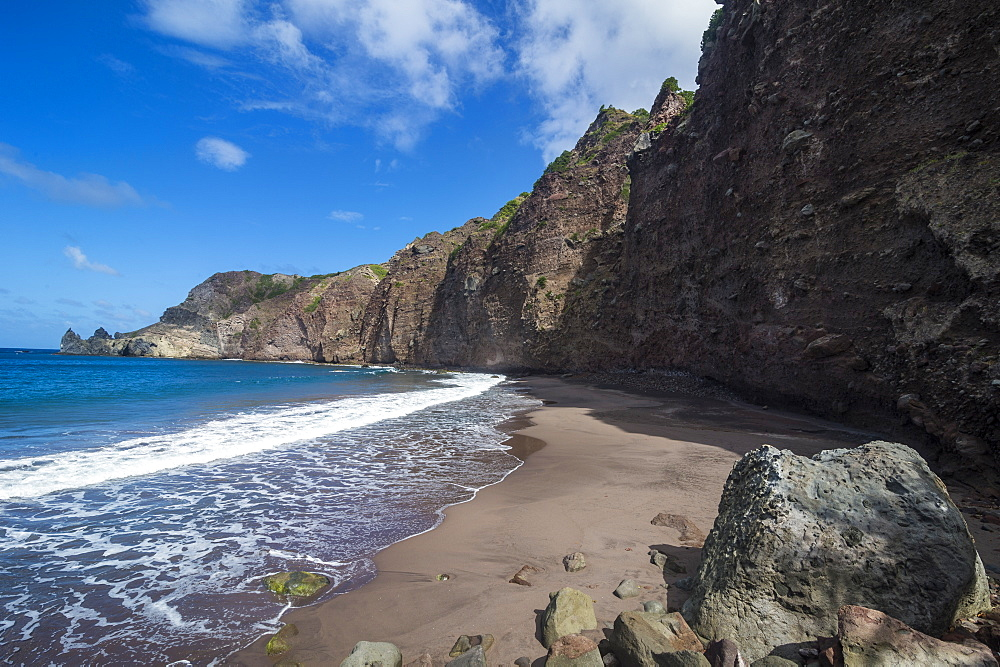 Beautiful Well's Bay sand beach in Saba, Netherland Antilles, West Indies, Caribbean, Central America