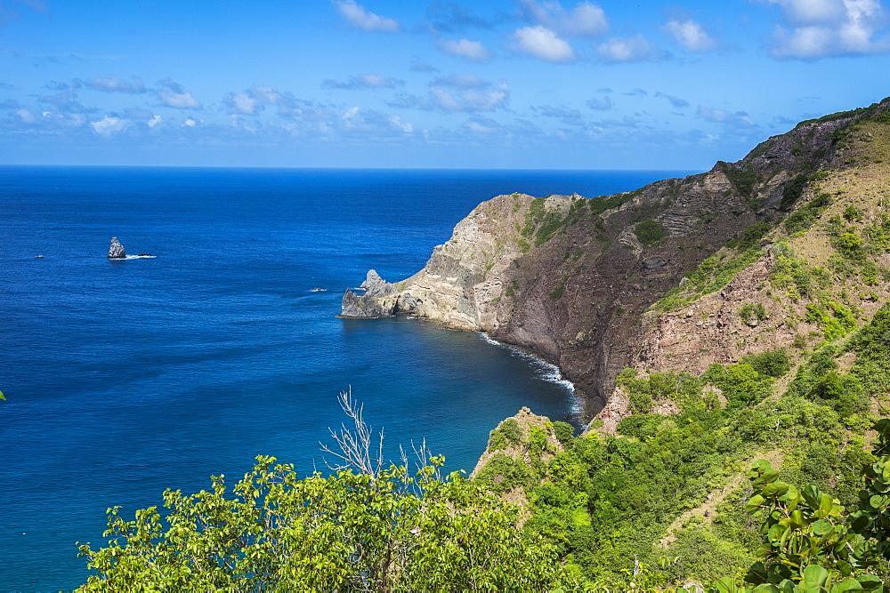 Overlook over the coastline of Saba, Caribbean, Netherland Antilles - 1184-1149