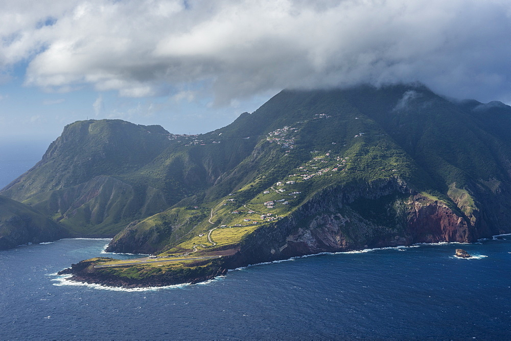 Aerial of Saba, Caribbean, Netherland Antilles