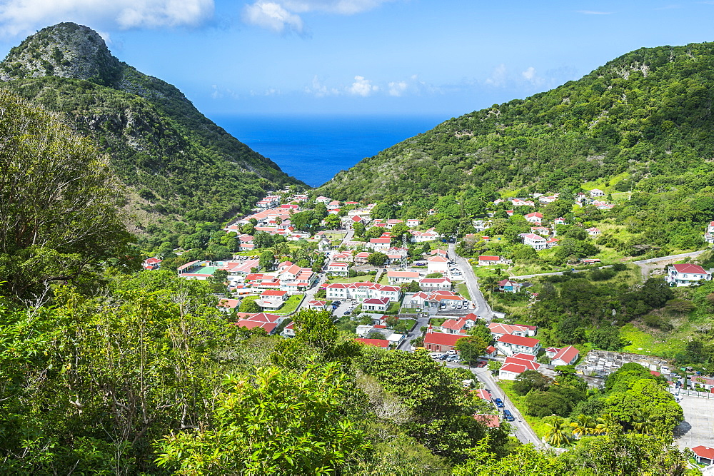 View over The Bottom, capital of Saba, Netherland Antilles, West Indies, Caribbean, Central America
