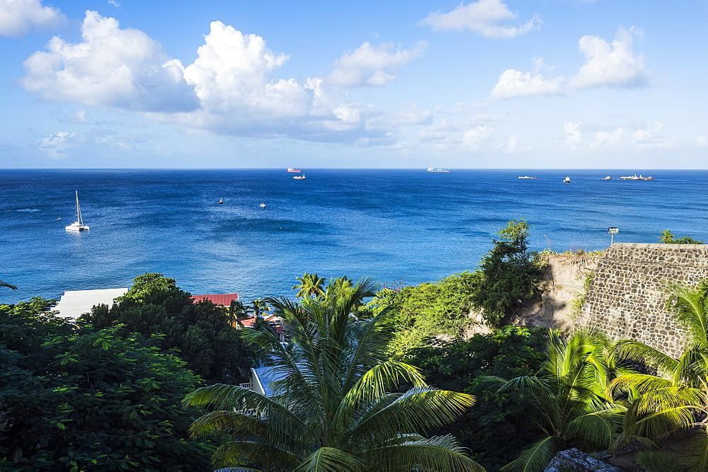 Overlook over Oranje Bay, Oranjestad capital of St. Eustatius, Statia, Caribbean, Netherland Antilles - 1184-1154