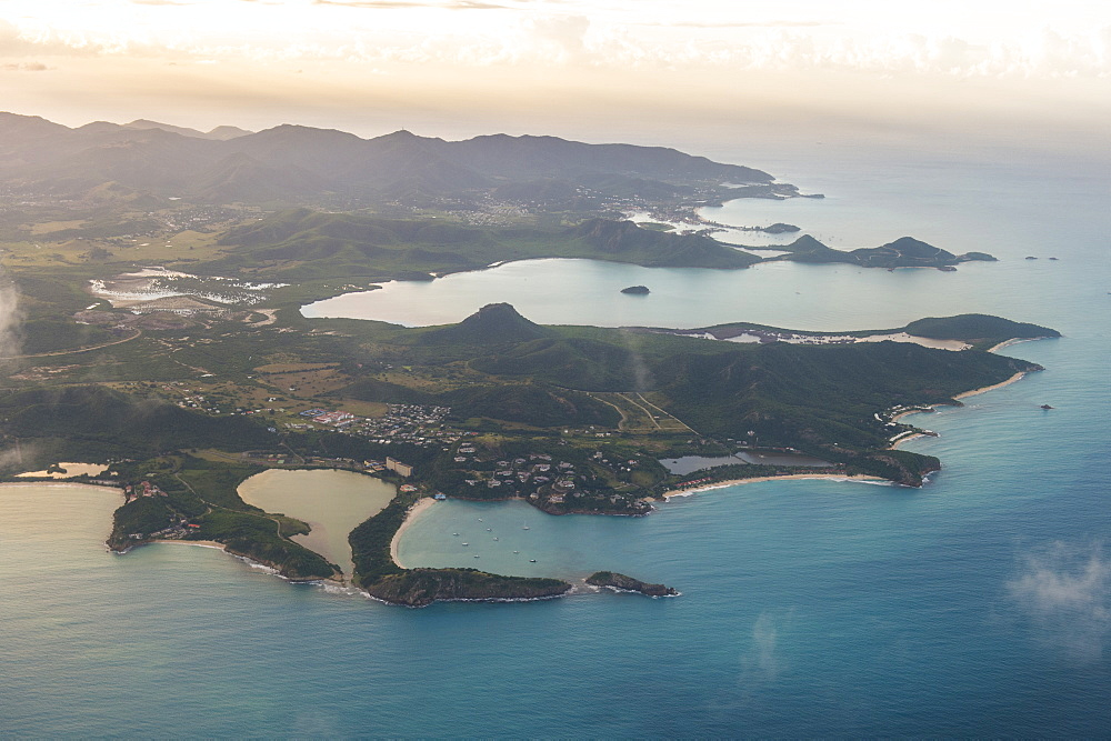 Aerial of Antigua, West Indies, Caribbean, Central America