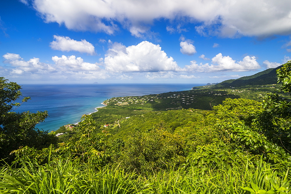 View over the coastline of Montserrat, British Overseas Territory, West Indies, Caribbean, Central America