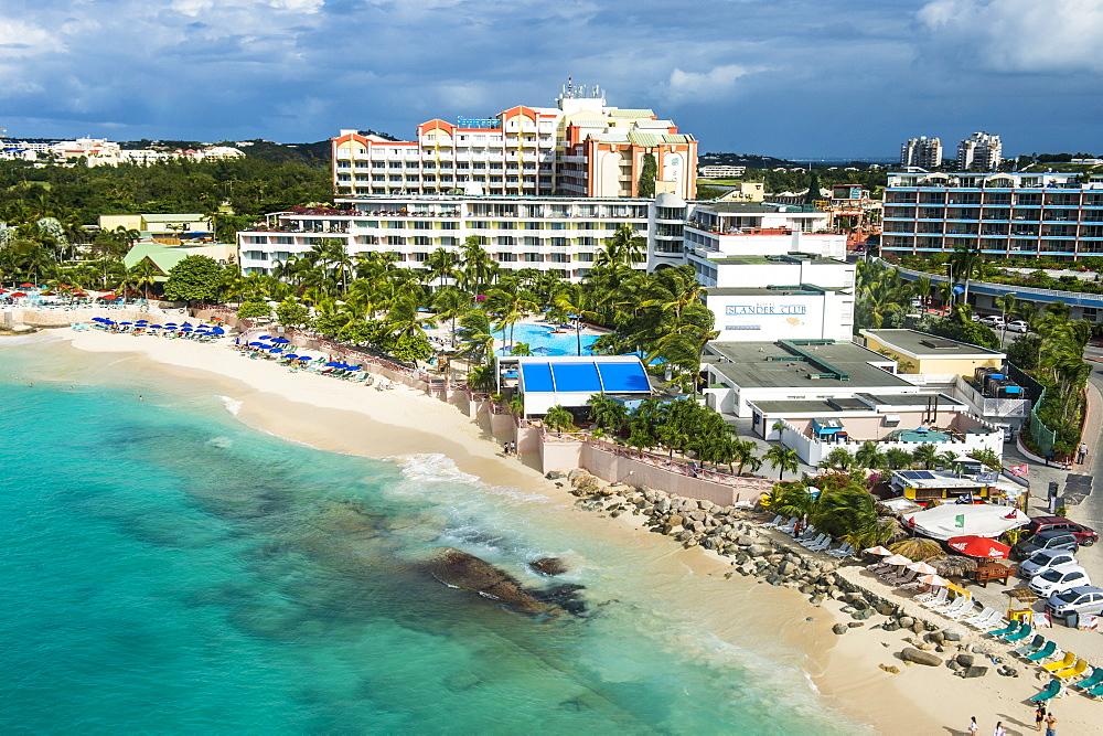 Aerial of Sint Maarten, West Indies, Caribbean, Central America