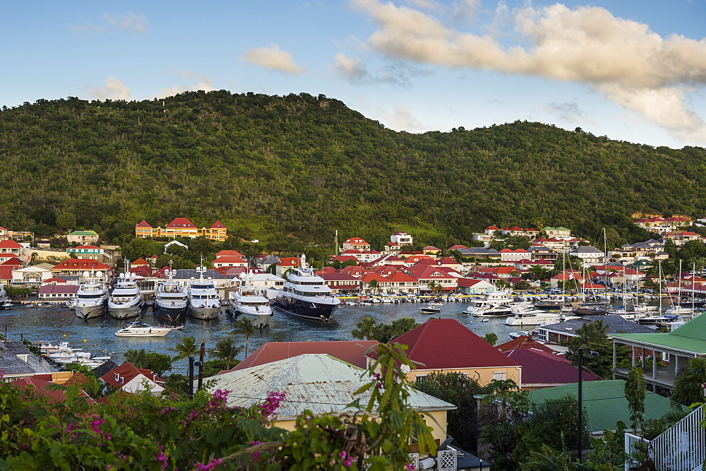 Luxury yachts, in the harbour of Gustavia, St. Barth (Saint Barthelemy), Lesser Antilles, West Indies, Caribbean, Central America