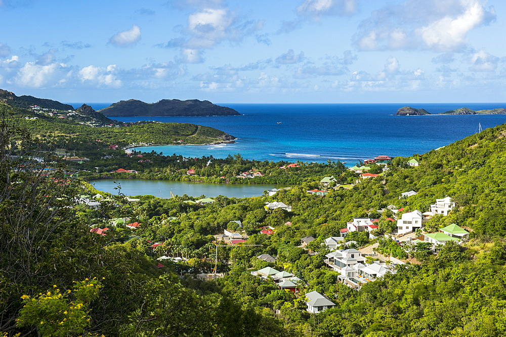 Overlook over the coastline of St. Barth (Saint Barthelemy), Lesser Antilles, West Indies, Caribbean, Central America