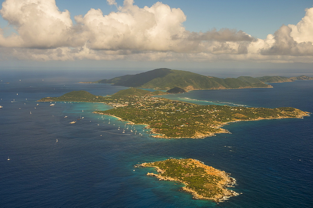 Aerial of Virgin Gorda, British Virgin Islands, West Indies, Caribbean, Central America