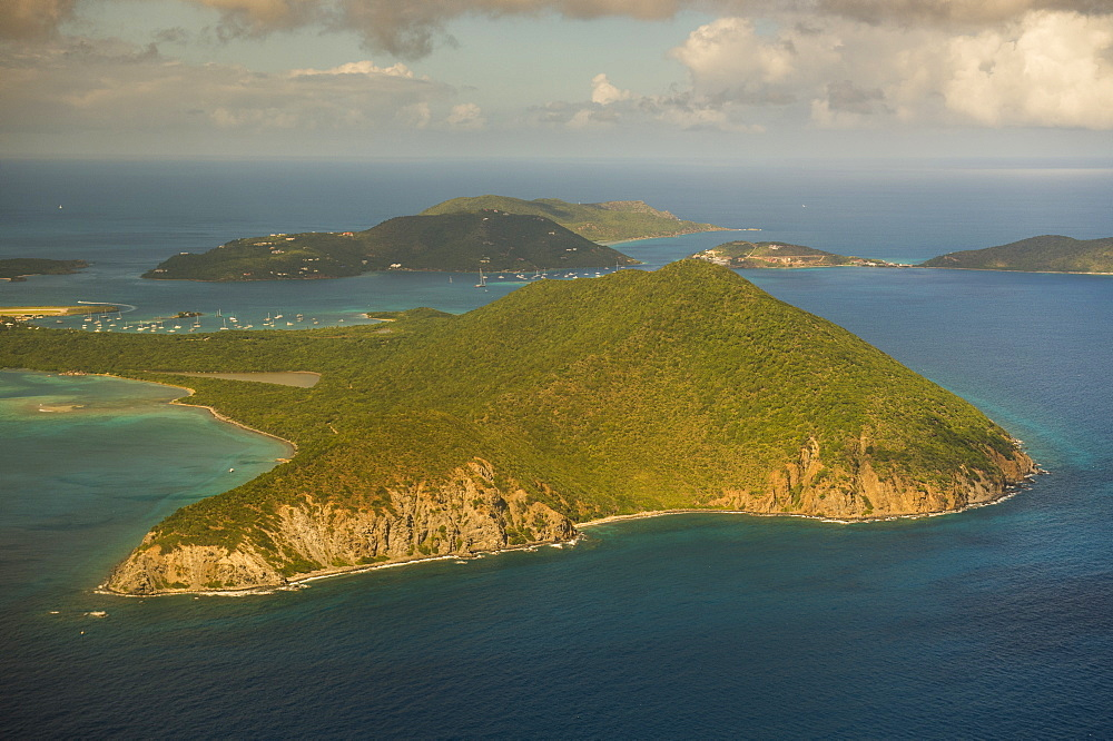 Aerial of Beef Island, British Virgin Islands, West Indies, Caribbean, Central America