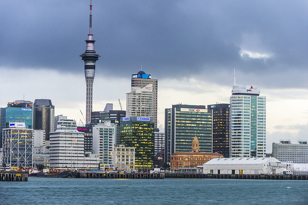 The skyline of Auckland, North Island, New Zealand, Pacific