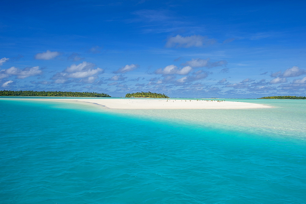 White sand beach and palm fringed beach in Aitutaki lagoon, Rarotonga and the Cook islands