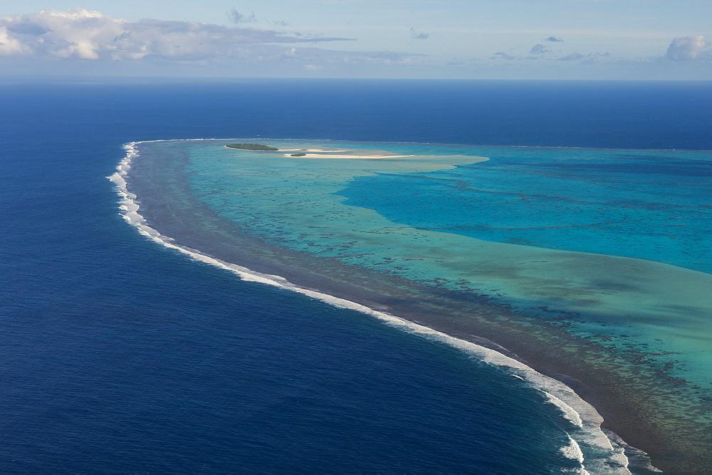 Aerial of Aitutaki lagoon, Rarotonga and the Cook islands