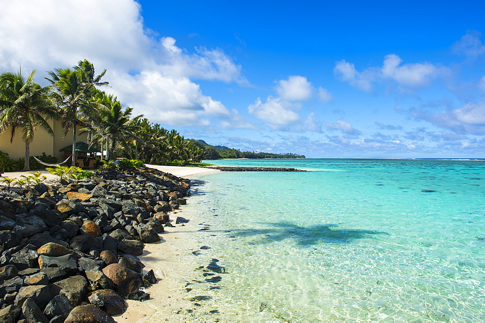 White sand beach and turquoise waters, Rarotonga and the Cook islands
