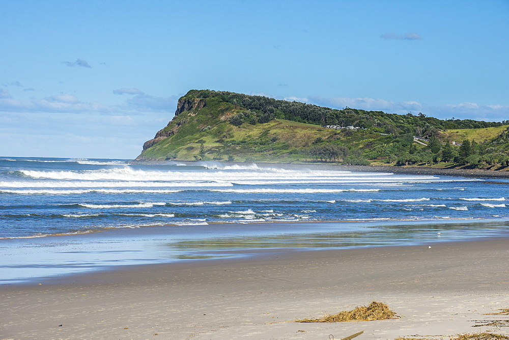 Long sandy beach in Lennox Head, Byron Bay, Queensland, Australia, Pacific