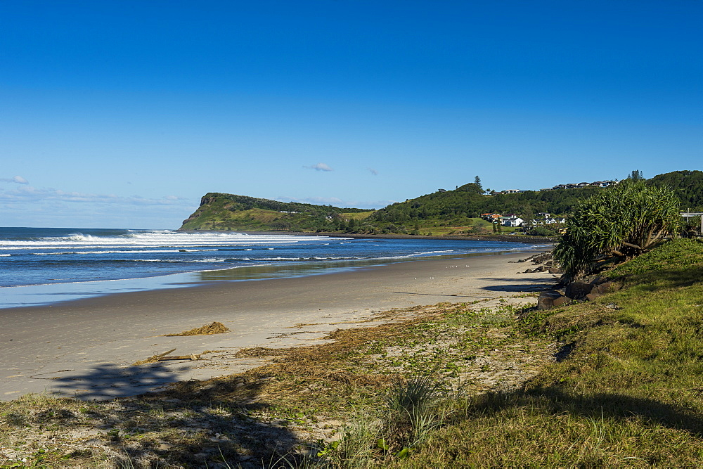 Long sandy beach in Lennox head, Byron Bay, Queensland, Australia