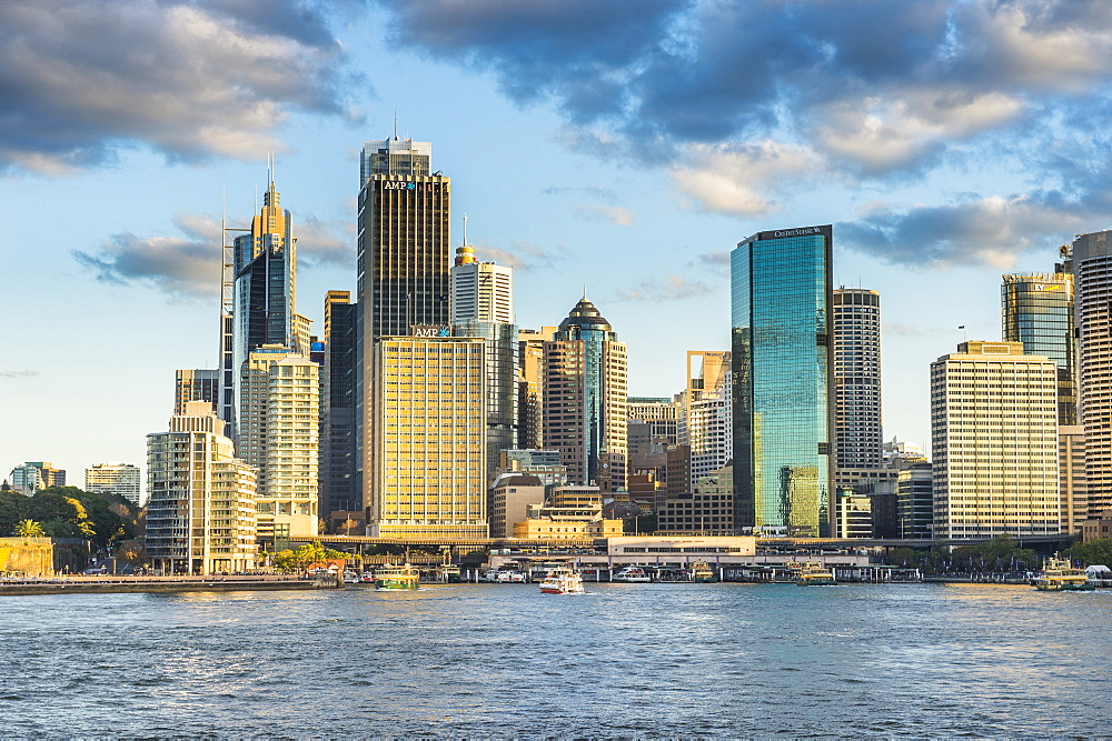The skyline of Sydney at sunset, New South Wales, Australia