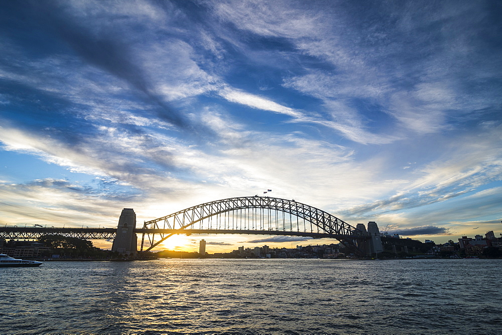 Sydney harbour bridge at sunset, Sydney, New South Wales, Australia, Pacific