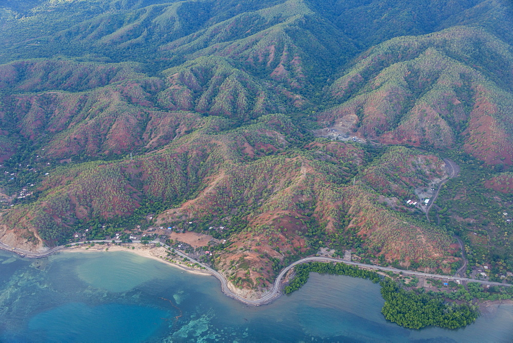 Aerial of the coastline of East Timor, Southeast Asia, Asia