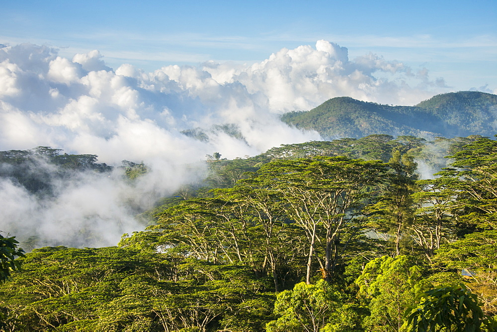 Clouds rolling in the mountains around Suai, East Timor, Southeast Asia, Asia