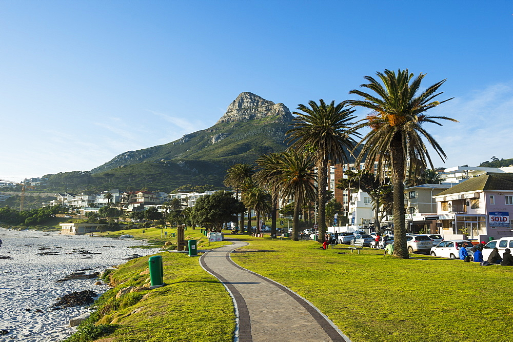 Waterfront of Camps Bay with the Lions Head in the background, suburb of Cape Town, South Africa, Africa
