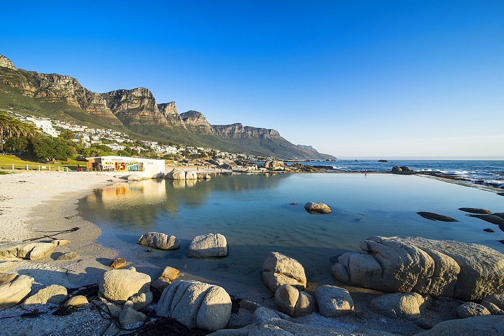 Camps bay with the table mountain in the background, suburb of Cape town, South Africa