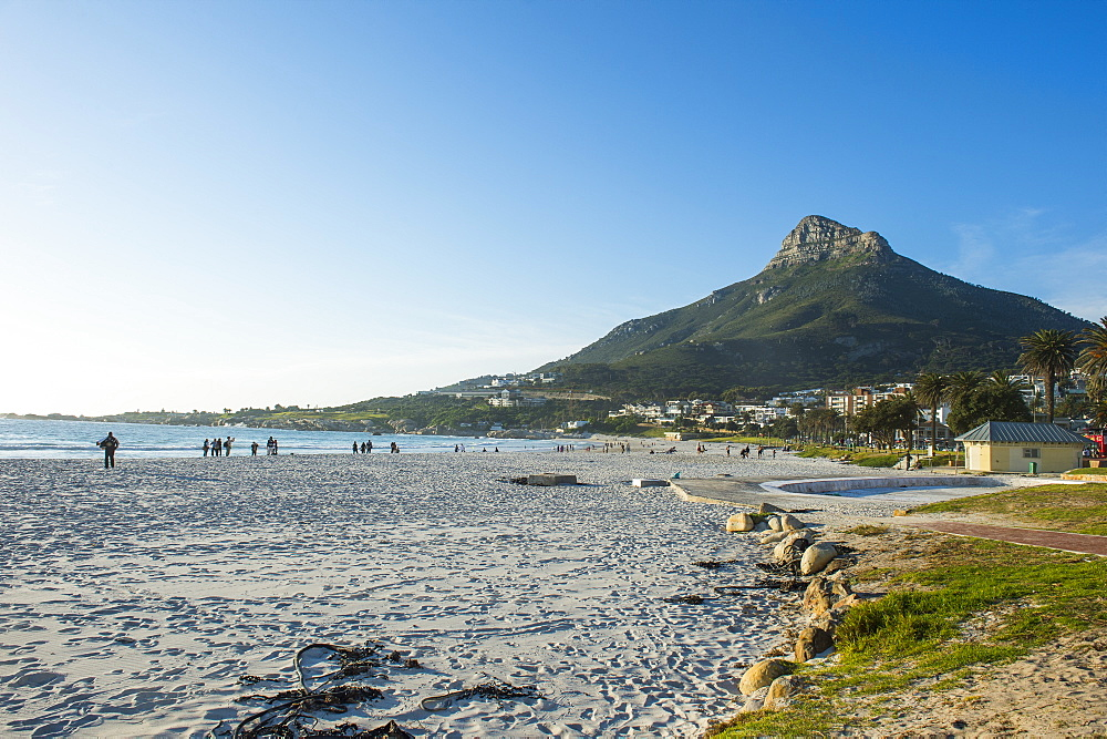 Waterfront of Camps bay with the lions head in the background, suburb of Cape town, South Africa