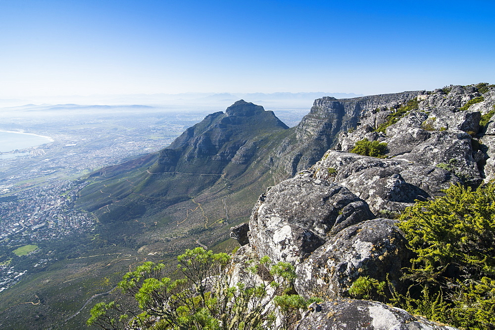 Overlook over Cape town from Table mountain, South Africa