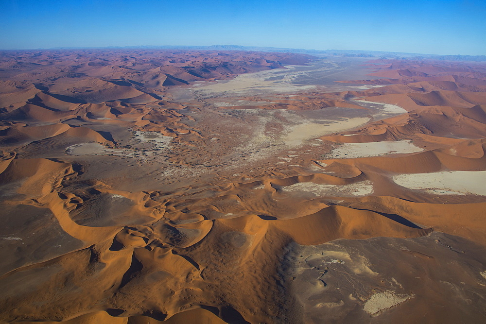Aerial of a dead lake, vlei, in the Namib desert, Namibia