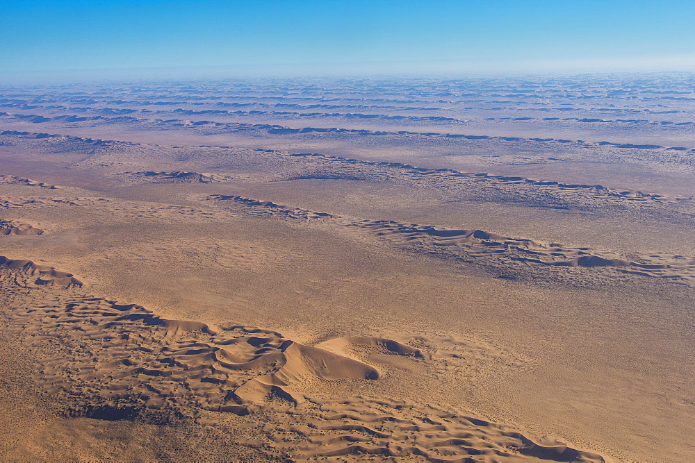 Aerial of sand dunes in the Namib desert, Namibia, Africa